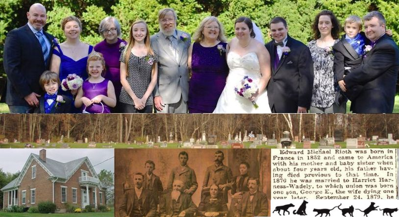 edanddebby.com banner with all our kids & grandkids (so far), Smith homestead, some of Debby's Weaver ancestors, great-grandfather's partial obit, cemetery landscape